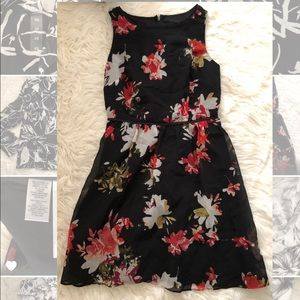 Ann Taylor Loft Black Floral Dress, Size 0P